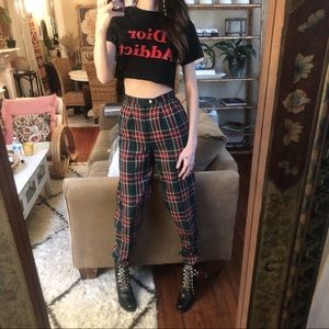 Vintage plaid high waisted pants